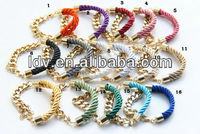 Yiwu landy jewelry factory USA fashion silk rope mint bracelet