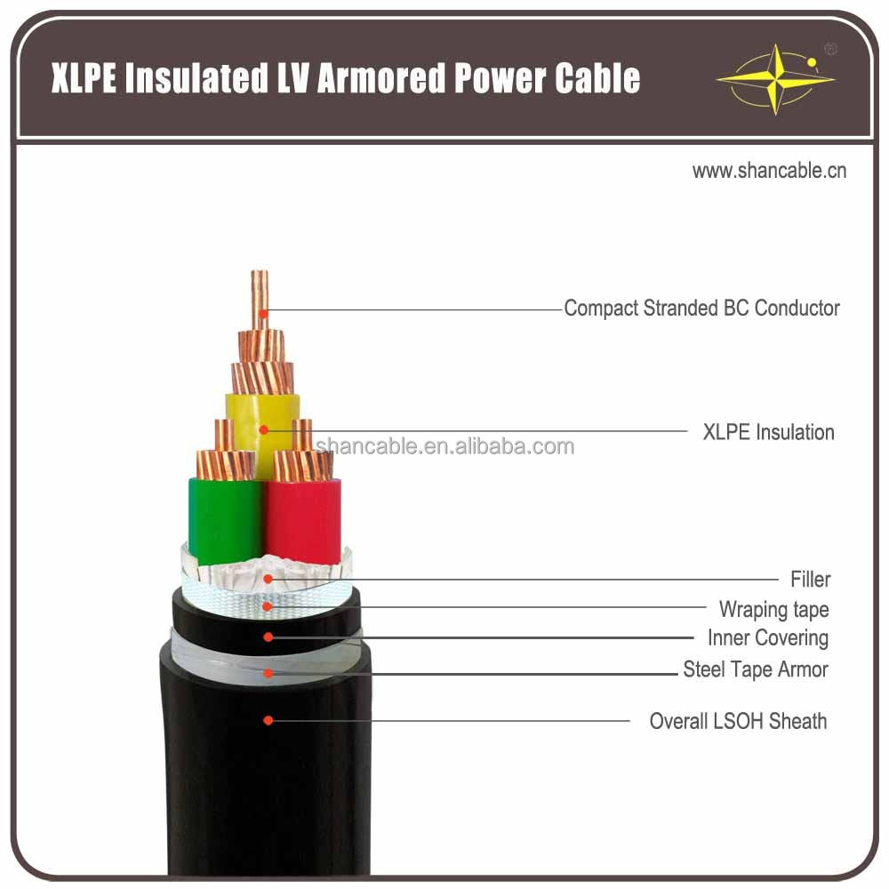 0.6/1kV 600/1000V low voltage copper conductor 2x50mm2 two core XLPE insulation CU/XLPE/STA/PVC armored electric power cable