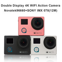 Double Color Screen Real Full HD 4K Novatek 96660 HD 170 Degree Wide View Len Bicycle Helmet Wifi Action Sport Camera