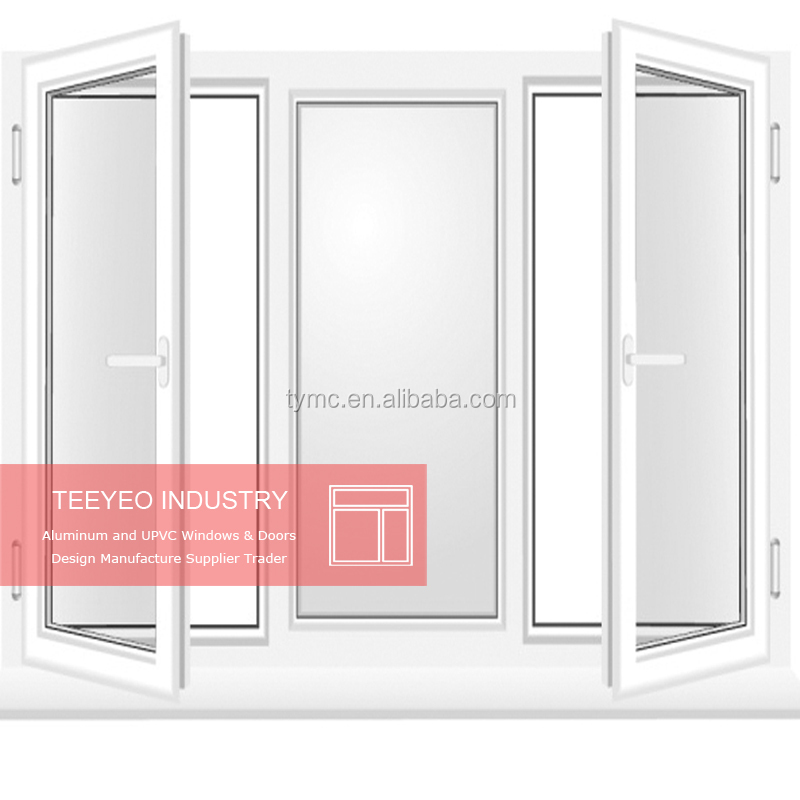 Teeyeo PVC/UPVC/Plastic top fixed swing glass window for house/home