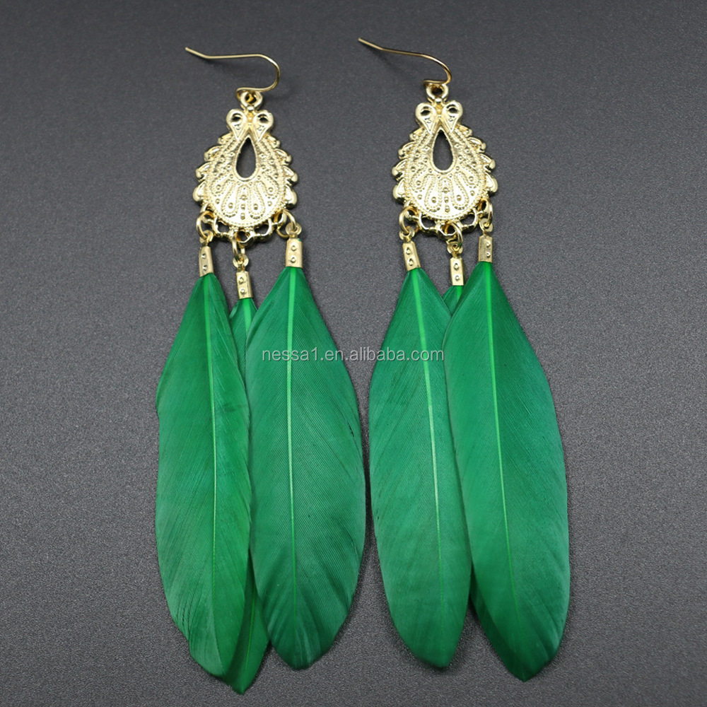 Fashion <strong>Alloy</strong> and Feather Earring Gift AYN-0026