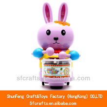 Funny electronic toy battery operated rabbit a drum