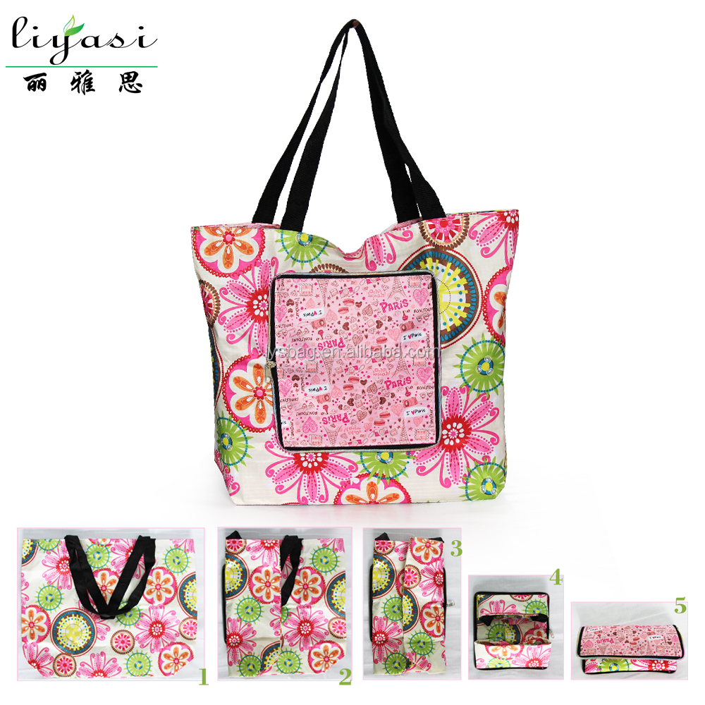 Custom Pattern Ripstop Polyester Folding Shopping Bag Folded Into Small Zipper Pouch