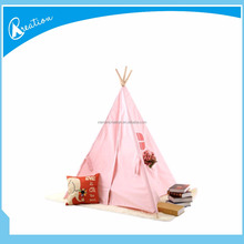 pink four wooden poles outdoor kids play teepee tent