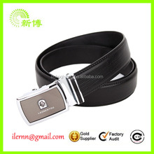 pure black man PU belt with metal buckle