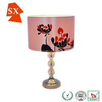 indoor vintage spin fabric flower leaves glass faux silk table lamp mantle