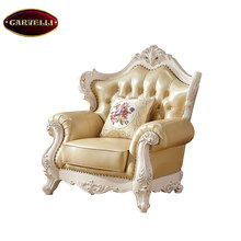 118(W)-B Vintage furniture european royal style carved leather sectional classic sofa set