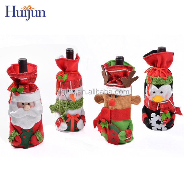 Wholesale funny decoration creative lovely Christmas fleece wine mini gift bags