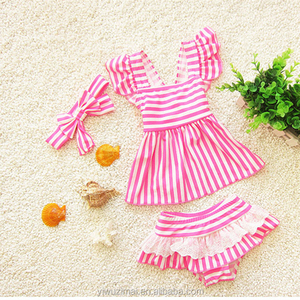 Cute Pink Baby Girl Stripes Design Swimwear Kids Bathing Suit Children Swimwear With Headband