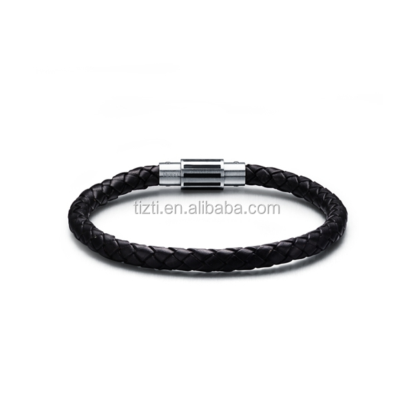 Braided black Leather Mens Bracelet 6 mm with magnetic lock Stainless Steel Clasp