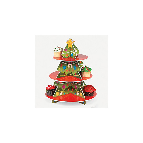 Christmas tree style corrugated cardboard cupcake display stands, Christmas paper cup cake stands