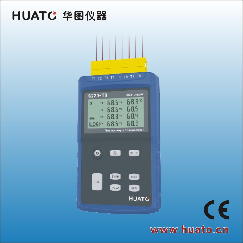 HUATO S220-T8 HVAC oven use 8 channel thermocouple thermometer K-type probe/oven safe thermometer