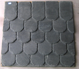 Fish scale slate roof tile with grey color for hot sale