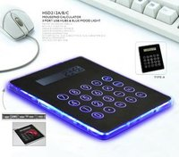 Multi-function mousepad calculator 3 port USB HUBS with blue mood light