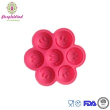 Eco-Friendly 7 cavity Smile shape silicone ice cube tray/cute ice mold