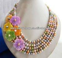 Fashion multicolor round pearl choker 5strands necklace beautiful shell flower necklace
