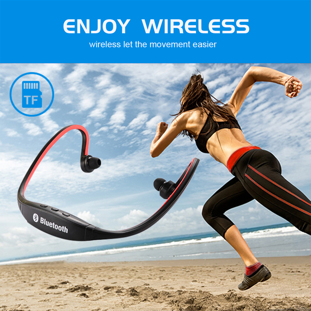 Noise Cancelling Headset Earhook Sports Waterproof Wireless Bluetooth Stereo 4.1 Earphone