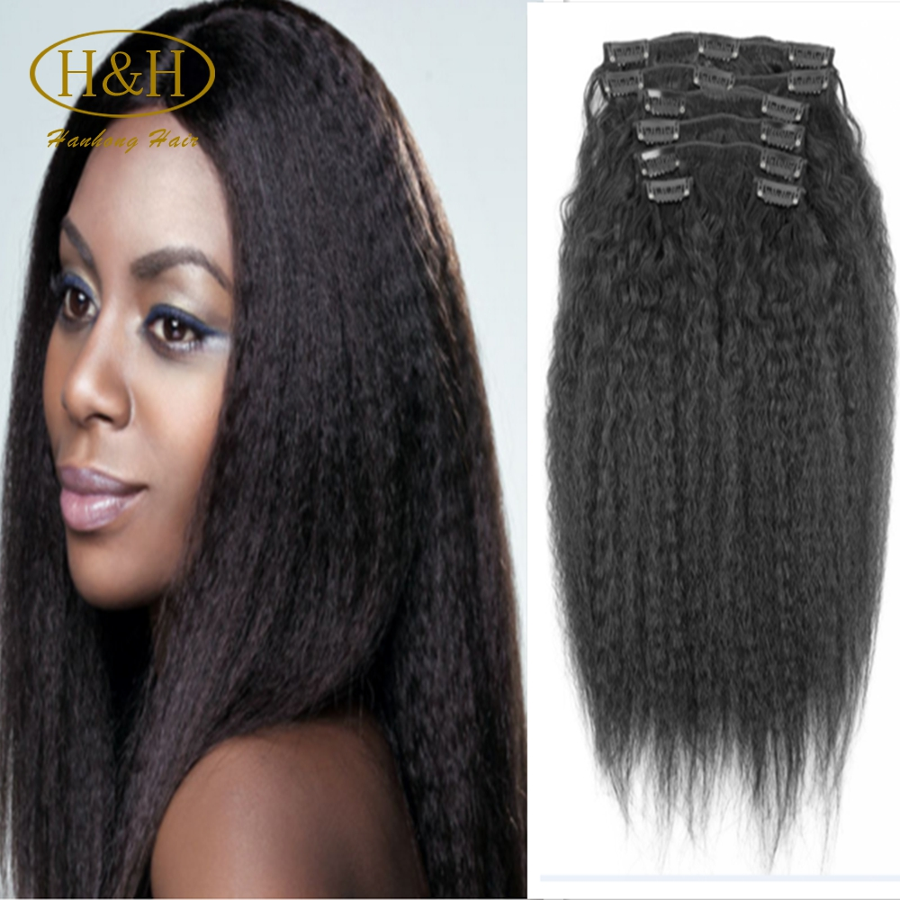 Wholesale natural black cheap 100% brazilian human hair kinky straight clip in hair extensions for black women