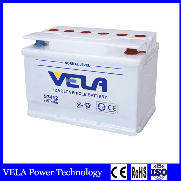 car battery 57412 DIN74 dry charged battery for sale
