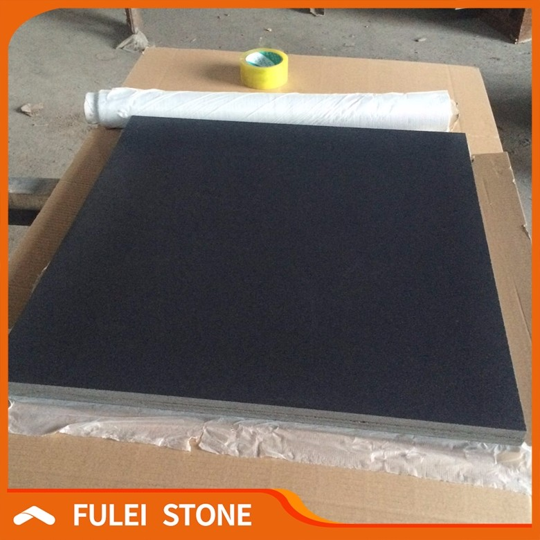 High Quality leather finished absolute black granite product