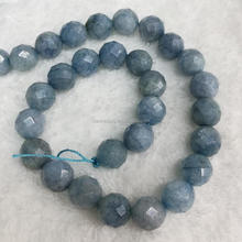 Natural Stone Faceted Round Aquamarine Fashion Jewelry and Loose Gemstones Wholesale Beads for DIY Design Making