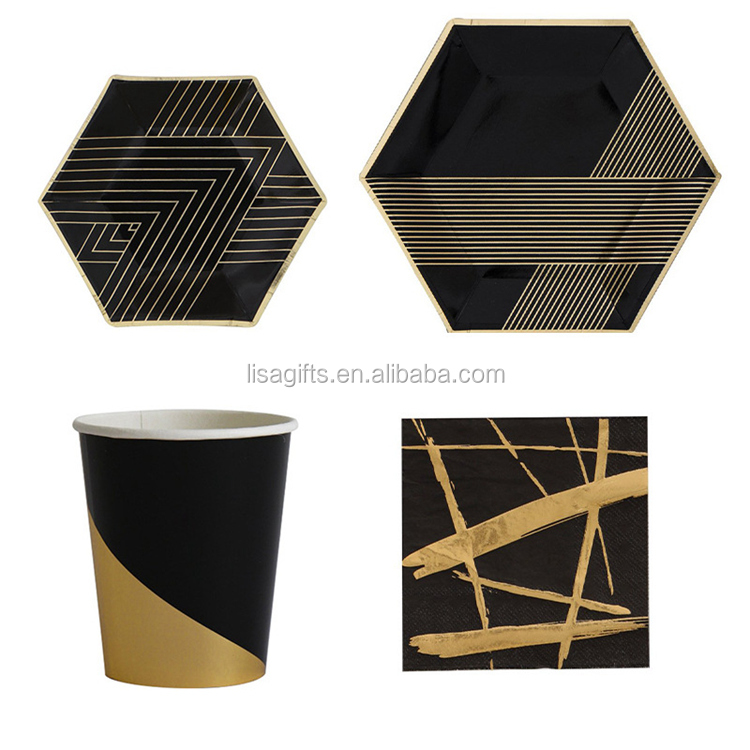 Hot selling Black Golden square disposable tableware paper tray hot Paper party plates