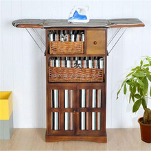 Wood Wall Folding Ironing Board Cabinet With Wicker Drawers