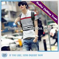 Men Fashion Striped 100% Cotton Pullover Polo Shirt