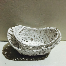 Set of 2 boat shaped small willow wicker bird basket