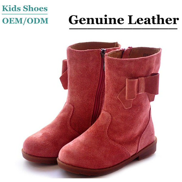 Factory direct hot sale fashion kids red cow leather kids boots online