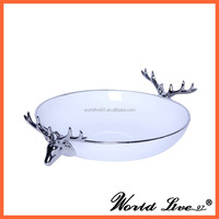 antlers design chinese ceramic bronze decorative bowls for coffee table