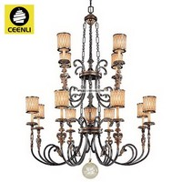 Large 12 lights Aged Patina Gold Leaf Accent finished Steel Glass Aluminum vitange Villa chandeliers