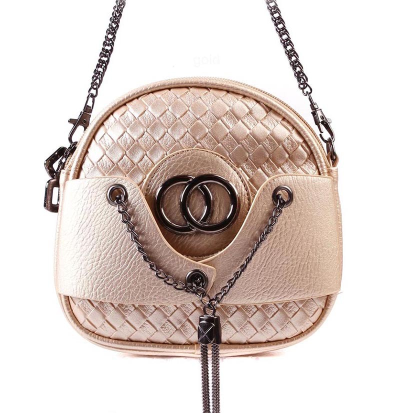 Chain Tassel Knitting Mini Circular Bag High Quality Leather Women Shoulder Bag  2015  New Fashion Shoulder Bag Famous Brand