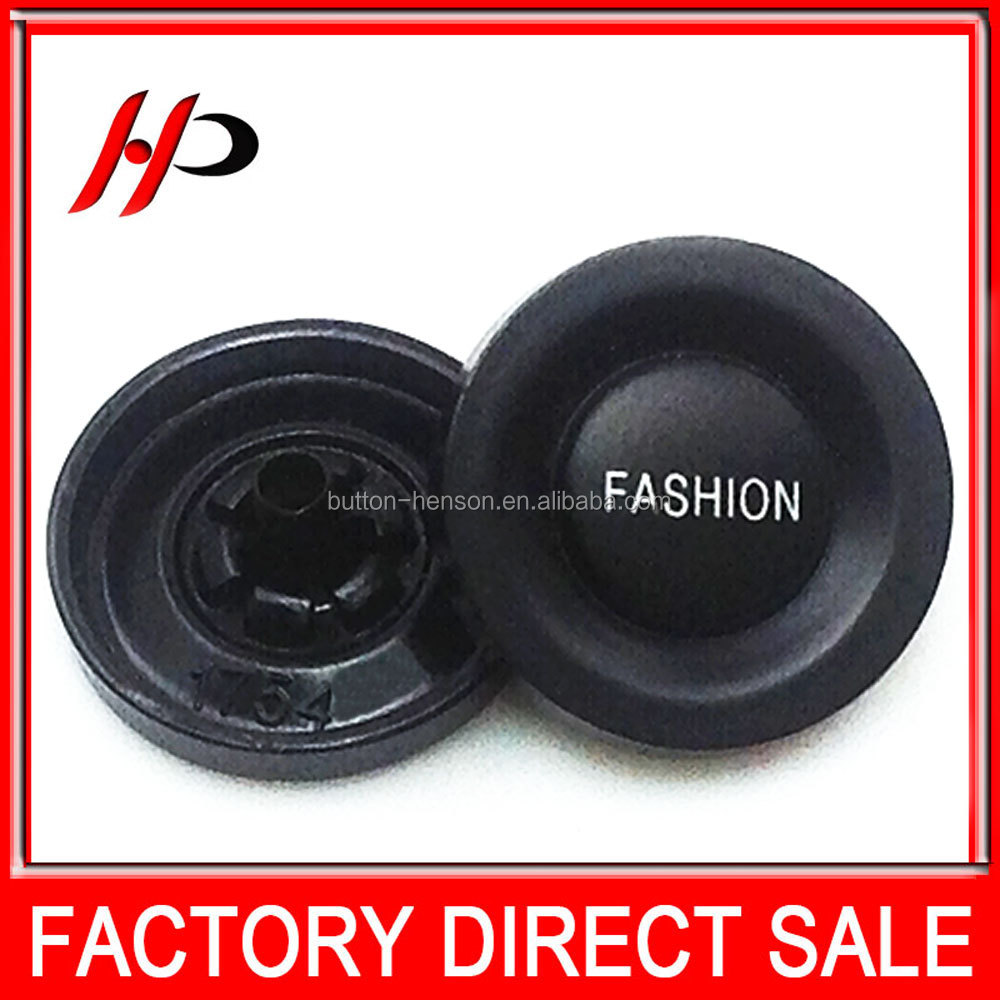 Factory wholesale 18mm black laser FASHION logo fasteners press alloy metal snap button for jacket