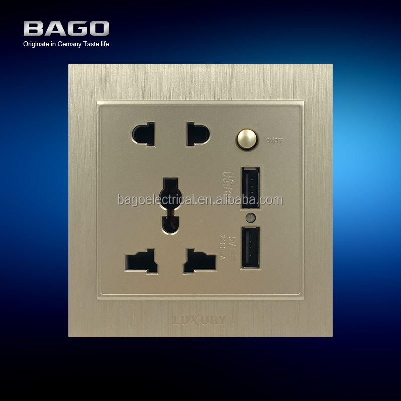 vertical golden PC brushed electric switch with USB socket