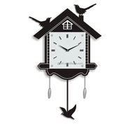 House Shaped Wall Clock with Three Black Bird Wall Clock with Bird Pendulum MDF and Glass Main Material
