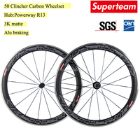 Superteam 700C 50mm Carbon Fiber Wheelset Road Bike Wheels Aluminum Braking Wheelset Bicycle Carbon Wheelset