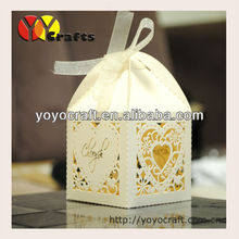 Laser Cut Ivory color Wedding packaging favour Boxes with Ribbon Various of Colors from YOYO Crafts