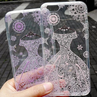 Relief Painting Wedding Dress Lace Transparent Frosted Soft Shell TPU Phone Case Cover For iPhone 5/5s/6s/6plus