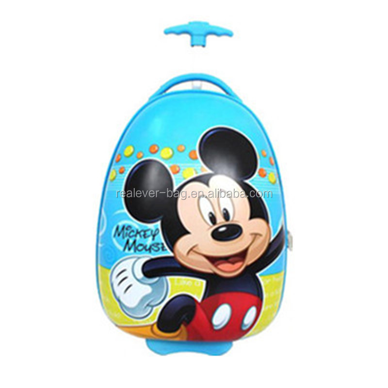 cartoon printing hard shell oval kids trolley bag luggage case