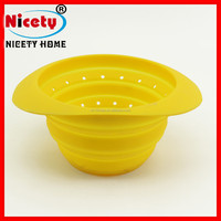 easy take away food grade silicone folding deep bowl with net cover