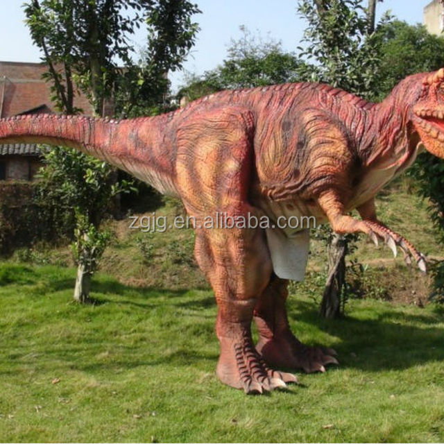 Artificial robot dinosaur costume inner operated on playground