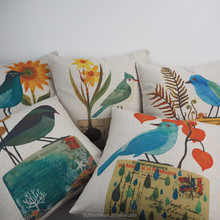 Latest bird flower designs pattern digital printed cushion linen cotton plain cushion cover