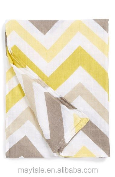 "47""x47"" Stylish Muslin Swaddle Blanket, Cotton and Bamboo"