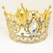 Fashion Gold plated baroque tiara crystal pageant <strong>crown</strong>