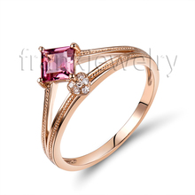 100% Natural Pink Tourmaline Diamond Ring In Solid 18k Rose Gold Engagement Ring For Sale 750 Rose Gold Ring Wholesale SR0392