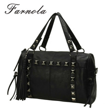 high quality fashion black rivet pretty girl handbag for sale