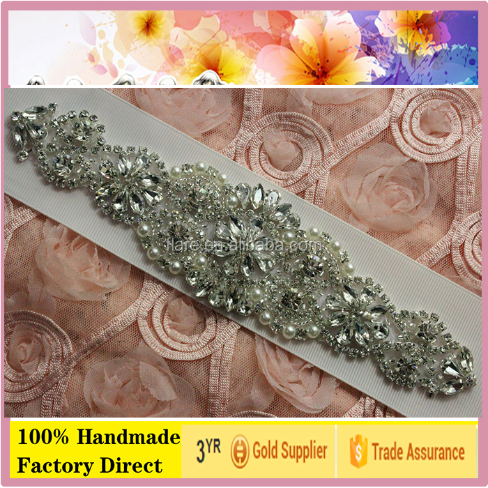 Bridal dress stone ornaments pearl crystal embellished appliques patch for applications in dresses 8.0'L