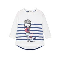 Girl's Cute Glass Girl and Cat Print Cotton Knitted T-shirts Chlidren Blue Stripe Roll Sleeve Casual Tees for Wholesale Haoduoyi