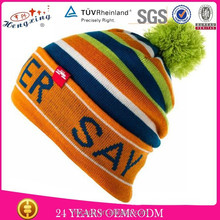 Cheap 100% Winter Bobble Custom Made Beanie Hats with Top Ball